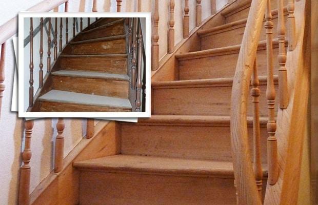 Le sablage d'un escalier: avant et après