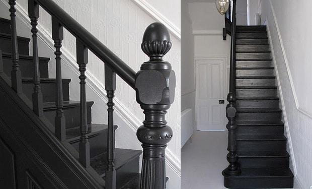 Escalier peint en noir